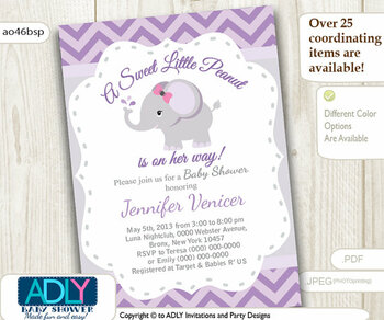 Purple Grey Elephant invitation for baby shower. Little Peanut is on her way, gray, chevron, printable invitation, it's a gir