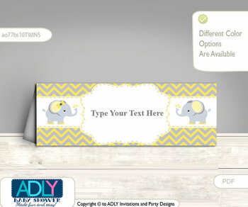 Yellow Gray Boy and Girl Elephant Food Tent Label, Menu Printable Card for Baby Elephant Shower, Birthday DIY Chevron, twinsc