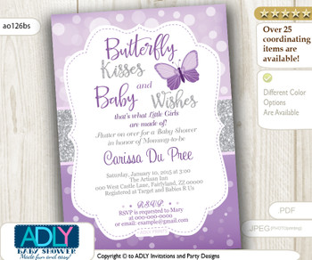 Butterfly Kisses and Baby WIshes Invitation for Baby Shower with bokeh purple silver glitter, butterfly invitation, grey,lavender