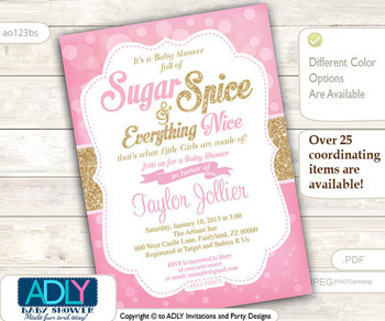 Sugar and Spice and Everything Nice that little girls are made of Invitation for Baby Shower, Bokeh pink and gold glitter