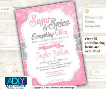 Sugar and Spice and Everything Nice that little girls are made of Invitation for Baby Shower, Bokeh pink and silver,glitter,gray