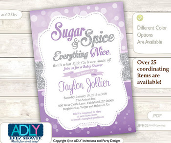 Sugar, Spice and Everything Nice that little girls are made of Invitation for Baby Shower, Bokeh purple,silver glitter, grey
