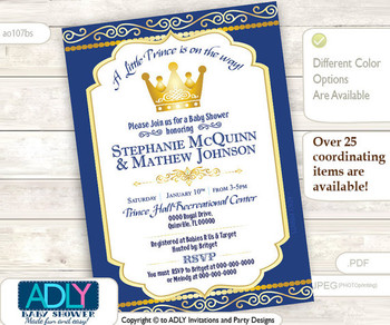 Royal Blue Gold Prince or King Baby Shower invitation with golden crown, digital invitation, gold crown, dark blue - you print