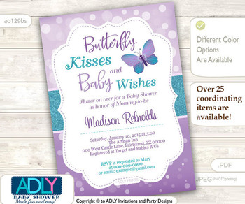 Purple Teal Butterfly Kisses and Baby WIshes Invitation for Baby Shower with bokeh purple, butterfly invitation,lavender, turquoise