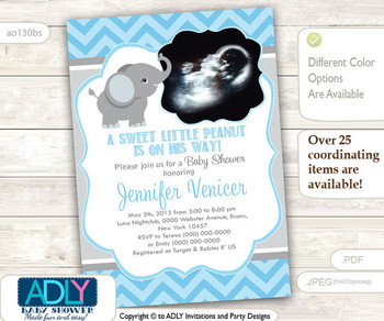 Blue Grey Boy Elephant Photo, Ulrtrasound invitation for boy baby shower. A little Peanut is on his way, chevron, gray, sonography