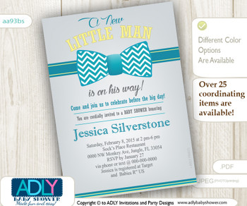 Turquoise Grey Yellow Bow Tie Baby Shower Invitation for a Little Man.