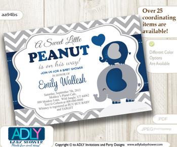 Horizontal Dark Blue, Grey Little Peanut Boy and Elephant Mommy Invitation, grey chevron, navy elephant invitation