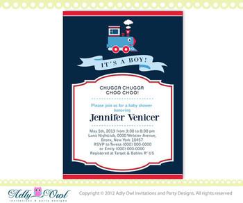 It's a boy Blue Red Train Baby Boy Shower Printable DIY party invitation for boy, Train Invitation, choo - ONLY digital file - you print