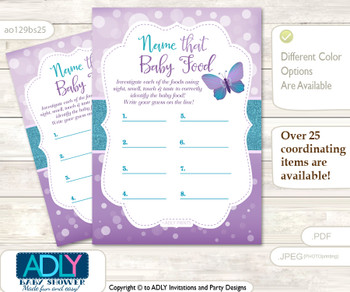 Purple Butterfly Guess Baby Food Game or Name That Baby Food Game for a Baby Shower, Bokeh Turquoise