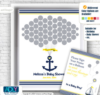 Nautical Boy Guest Book Alternative for a Baby Shower, Creative Nursery Wall Art Gift, Navy, Grey