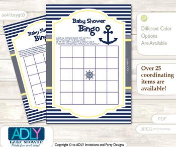 Printable Navy Boy Bingo Game Printable Card for Baby Nautical Shower DIY grey, Navy, Grey