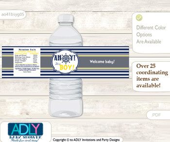 Nautical Boy Water Bottle Wrappers, Labels for a Boy  Baby Shower, Navy, Grey
