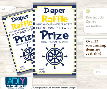 Nautical Boy Diaper Raffle Printable Tickets for Baby Shower, Navy, Grey
