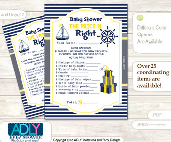 Printable Nautical Boy Price is Right Game Card for Baby Boy Shower, Navy, Grey
