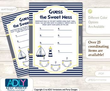 Nautical Boy Dirty Diaper Game or Guess Sweet Mess Game for a Baby Shower Navy, Grey