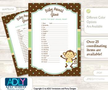 Printable Neutral Monkey Baby Animal Game, Guess Names of Baby Animals Printable for Baby Monkey Shower, Brown, Polka