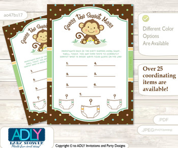 Neutral Monkey Dirty Diaper Game or Guess Sweet Mess Game for a Baby Shower Brown, Polka