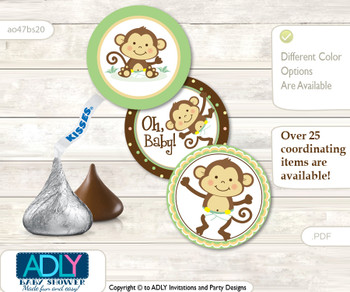 Printable  Neutral Monkey Candy Kisses for Baby Neutral Shower DIY Brown , Polka