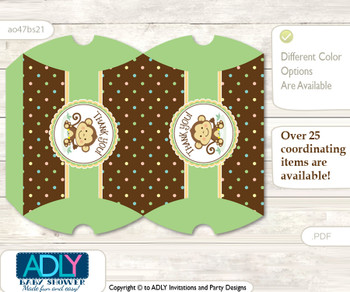Neutral Monkey Pillow Box for Candy, Little Treats or Small Gift of any Baby Shower or Birthday, Brown , Polka