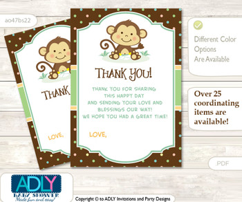 Neutral  Monkey Thank you Cards for a Baby Neutral Shower or Birthday DIY Brown, Polka