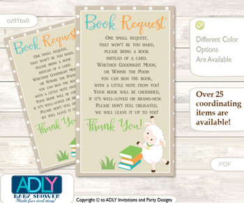 Request a Book Instead of a Card for Neutral Lamb Baby Shower or Birthday, Printable Book DIY Tickets, Beige,Polka