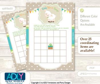 Printable Polka Lamb Bingo Game Printable Card for Baby Neutral Shower DIY grey, Polka, Beige