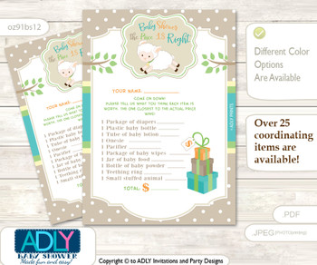 Printable Neutral Lamb Price is Right Game Card for Baby Lamb Shower, Polka, Beige