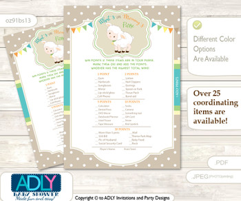 Neutral Lamb What is in Mommy's Purse, Baby Shower Purse Game Printable Card , Polka,  Beige
