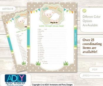 Printable Neutral Lamb Baby Animal Game, Guess Names of Baby Animals Printable for Baby Lamb Shower, Polka, Beige