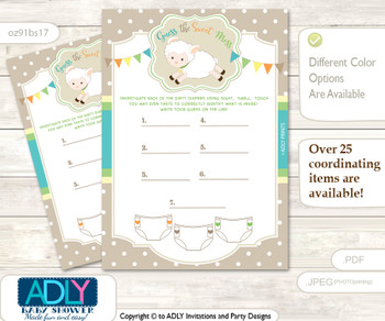 Neutral Lamb Dirty Diaper Game or Guess Sweet Mess Game for a Baby Shower Polka, Beige