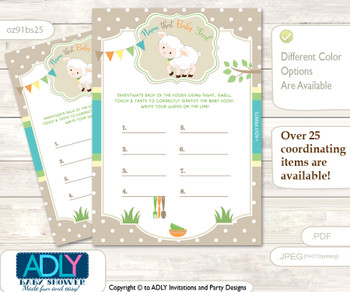 Neutral Lamb Guess Baby Food Game or Name That Baby Food Game for a Baby Shower, Polka Beige