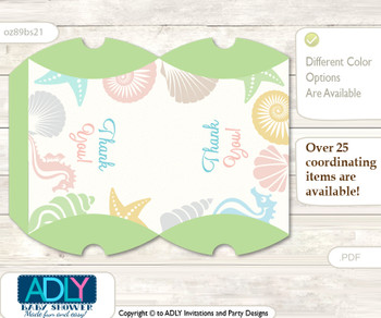 Neutral Beach Pillow Box for Candy, Little Treats or Small Gift of any Baby Shower or Birthday, Sea , Shell