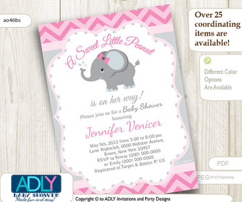 Pink Grey Elephant invitation for baby shower. Little Peanut is on her way, gray, chevron, printable, it's a girl,soft pink - ao46bs