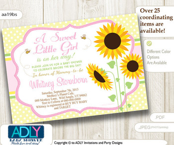 Sunflower Invitation for Baby Shower, A Sweet Little Girl is on her way, yellow, green, pink, orange, sunflower baby shower, harvest