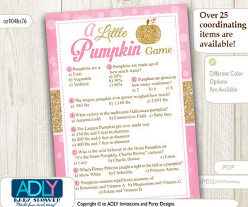 Trivia Pumpkin Game for Baby Shower in gold pink glitter.