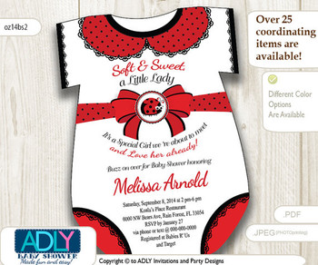 Little Lady Bug Onesies invitation for Baby Shower, Girl Bag shower, red black polka baby shower, oneies invitation