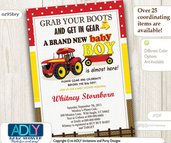 Red Yellow Tractor Baby Shower,Country, farm baby shower. Grab your boots and get in gear,brown, John, Deere