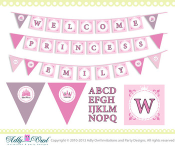 Super Welcome Princess and Name Banner Baby Shower Printable DIY pink, castle, crown,girl shower - ONLY digital file - you print SKU41