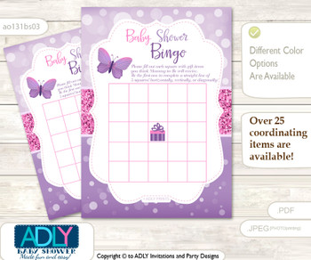 Printable Purple Pink Buttefly Bingo Game Printable Card for Baby Girl Shower DIY grey, Purple Pink, Bokeh