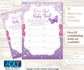 Girl Buttefly Guess Baby Food Game or Name That Baby Food Game for a Baby Shower, Purple Pink Bokeh