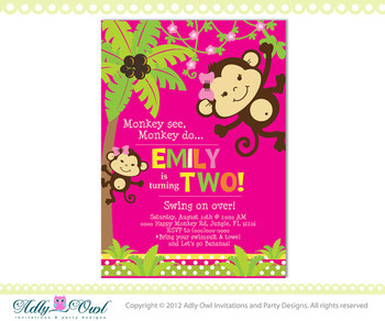Personalized Girl Monkey Happy Birthday Invitation Card Printable DIY, second birthday invite - ONLY digital file - you print
