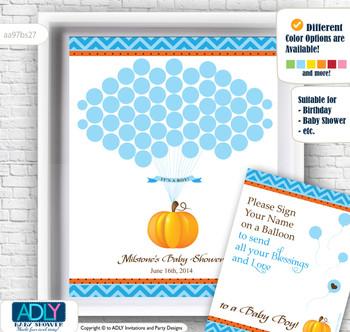 Boy Pumpkin Guest Book Alternative for a Baby Shower, Creative Nursery Wall Art Gift, Blue Orange, Chevron