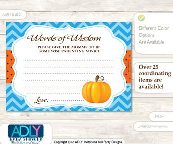 Blue Orange Boy Pumpkin Words of Wisdom or an Advice Printable Card for Baby Shower, Chevron