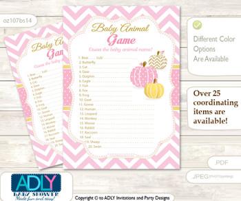 Printable Girl Pumpkin Baby Animal Game, Guess Names of Baby Animals Printable for Baby Pumpkin Shower, Pink, Chevron