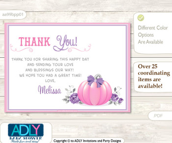 Thank you Printable Card with Name Personalization for Baby Shower or Birthday