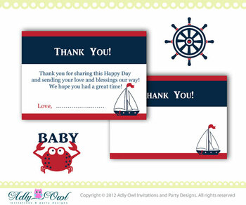 Nautical Baby Shower Thank you Cards in Navy, Blue, Red, with crab, anchor, navy blue red DIY- ONLY digital file - you print SKU41