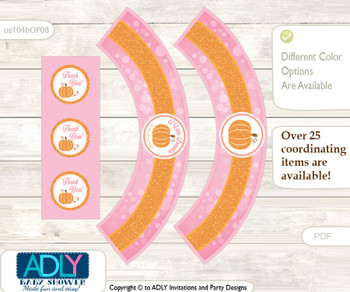Printable Girl Pumpkin Cupcake, Muffins Wrappers plus Thank You tags for Baby Shower Pink, Orange