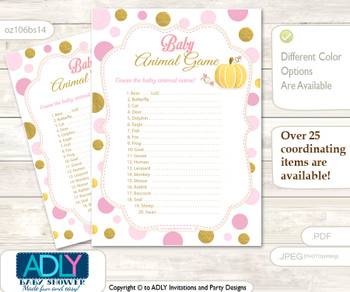 Printable Gold Pumpkin Baby Animal Game, Guess Names of Baby Animals Printable for Baby Pumpkin Shower, Pink, Polka
