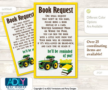 Request a Book Instead of a Card for Boy Tractor Baby Shower or Birthday, Printable Book DIY Tickets, Farm,green Yellow