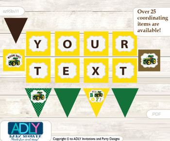 Personalized Boy Tractor Printable Banner for Baby Shower, green Yellow, Farm